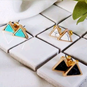 Jewelry - Marble Triangle Stud Earrings Gold Tone